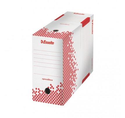 Rýchlo zložiteľná archívna krabica Esselte Speedbox, 35 x 25 x 15 cm, bielo-červená