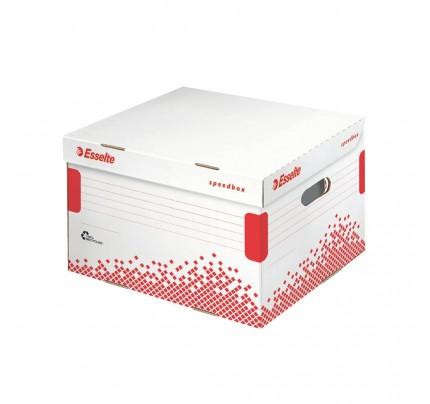 Rýchlo zložiteľná archívna krabica Esselte Speedbox, s vekom, veľkosť L, 43,3 x 26,3 x 36,4 cm, bielo-červená