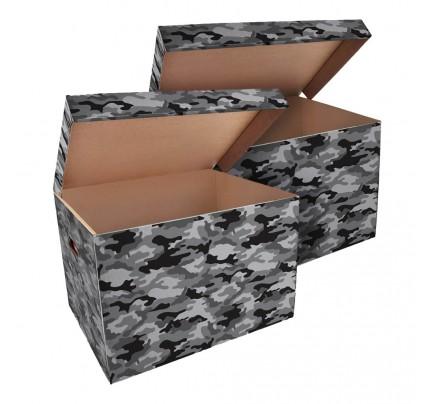 Úložná krabica ŠEVT, vzor army, 42,5 x 33 x 30 cm, 2 ks