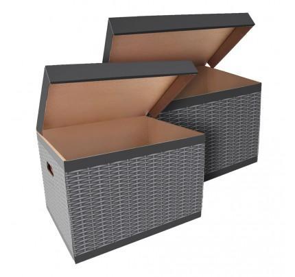 Úložná krabica ŠEVT, vzor ratan, 42,5 x 33 x 30 cm,  2 ks