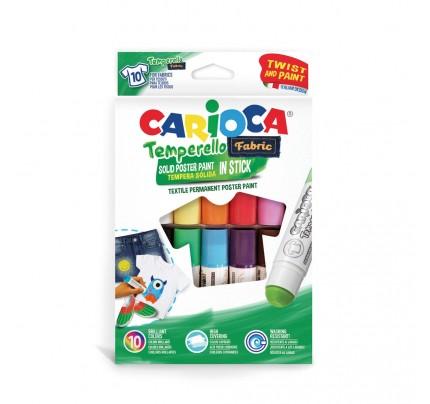 Súprava farieb v tyčinke na textil Carioca TEMPERELLO, 10 ks