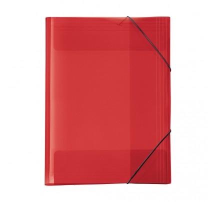 """Odkladacia mapa OM3, s 3 chlopňami a gumičkou, A3, """"Crystal"""", červená"""
