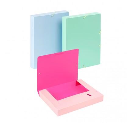 Box na spisy s gumou A4 Viquel Tandem, PP, 4,5 cm, mix farieb