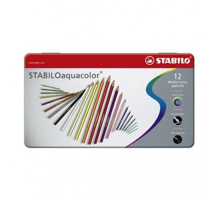 Akvarelové farbičky STABILOaquacolor, kovové puzdro, súprava 12 ks