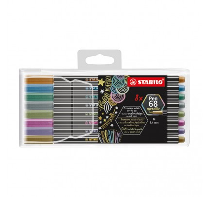 Fixky  STABILO Pen 68 metallic, súprava 8 ks