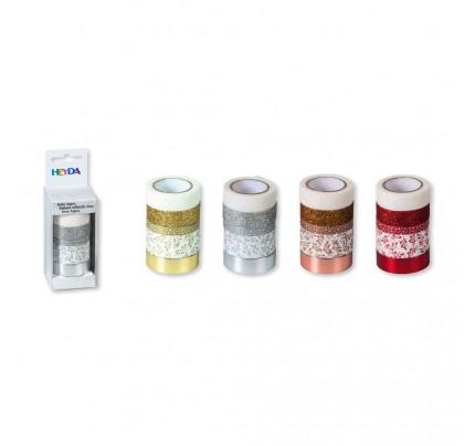 Dekoračná papierová lepiaca páska, 5 ks, mix farieb a veľkostí