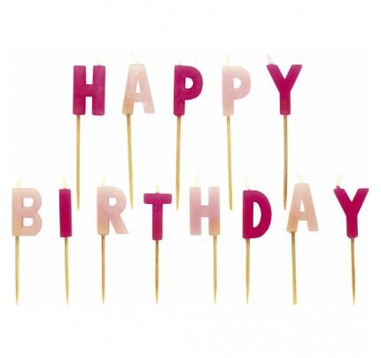 """Sviečky """"Happy Birthday"""", ružové"""