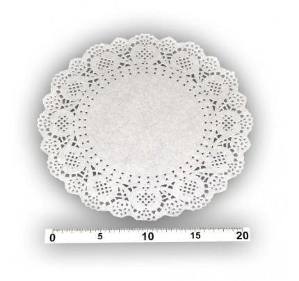 Papierová čipka pod tortu, okrúhla, priemer 24 cm, biela, 8 ks