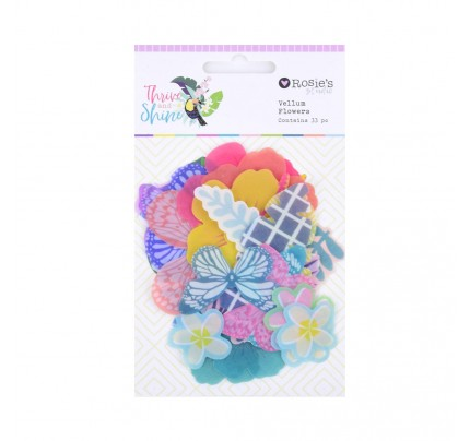 """Transparentné papierové výrezy """"kvety"""",  33 ks"""