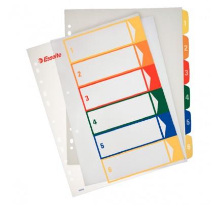 Register plastový Esselte popisovateľný na počítači A4 maxi, 1 - 6