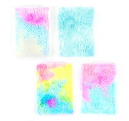 """Plyšový poznámkový zápisník """"pastel"""", A5, 80 listov, mix liniatúr a motívov"""