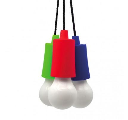 LED svietidlo v tvare žiarovky na šnúrke, mix farieb