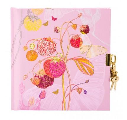 """Zápisník so zámkom Goldbuch """"Pink Strawberry"""", 16,5 x 16,5 cm, 48 listov"""