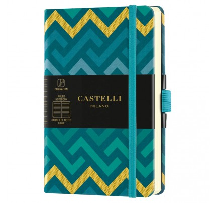 """Poznámkový zápisník Castelli """"Oro"""", A6, 90 x 140 mm, 96 listov, linajkový, Labyrinths"""
