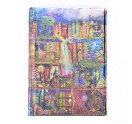 """Luxusný poznámkový zápisník – záznamová kniha FLAME TREE PUBLISHING """"Aimee Stewart – Treasure Hunt Bookshelves"""", A6, 176 listov, linajkový"""