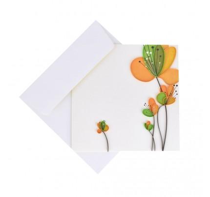 """Originálne """"handmade"""" blahoželanie """"oranžovo-zelené """", 15 x 15 cm"""