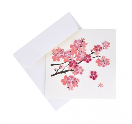 """Originálne """"handmade"""" blahoželanie """"čerešňové kvety na konári"""", 15 x 15 cm"""