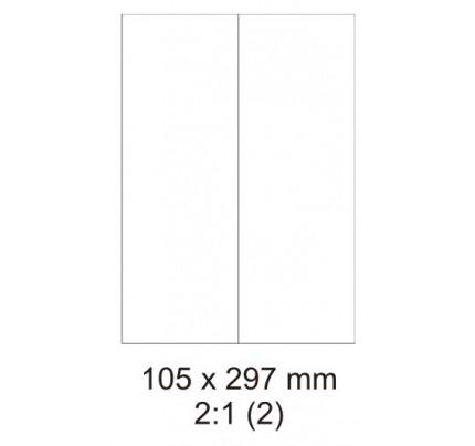Etikety PRINT, 105 x 297 mm, biele, 100  hárkov