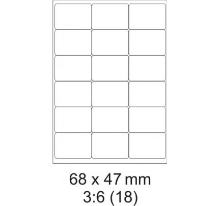 Etikety PRINT, 68 x 47 mm, biele, 100 hárkov