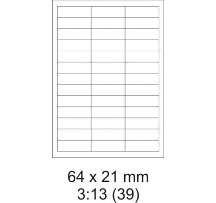 Etikety PRINT, 64 x 21 mm, biele, 100 hárkov