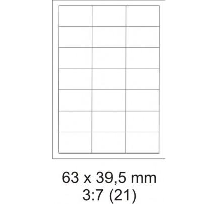 Etikety PRINT, 63 x 39,5 mm, biele, 100 hárkov