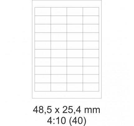 Etikety PRINT, 48,5 x 25,4 mm, biele, 100 hárkov