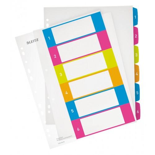 Register PP Leitz WOW A4 maxi, popisovateľný so štítkami 1 – 6