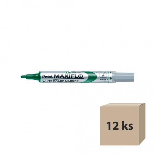 Popisovač na tabule Pentel Maxiflo MWL5S-D, 4 mm, zelený, 12 ks
