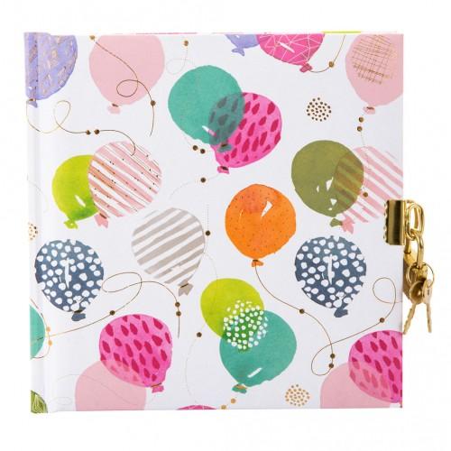 """Zápisník so zámkom Goldbuch """"Happy Balloons"""", 16,5 x 16,5 cm, 48 listov"""