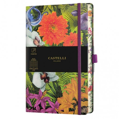 "Poznámkový zápisník Castelli ""Eden"", A5, 130 x 210 mm, 120 listov, linajkový, Orchid"