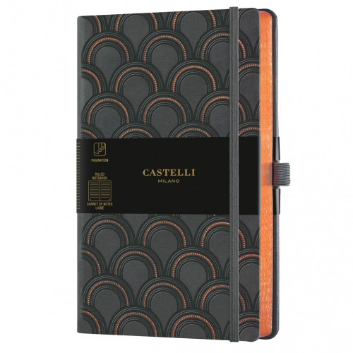 """Poznámkový zápisník Castelli """"Copper & Gold"""", A5, 130 x 210 mm, 120 listov, linajkový, Art Deco Copper"""